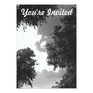 Grainy Black and White image of Trees and Sky. 13 Cm X 18 Cm Invitation Card