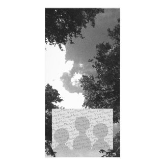 Grainy Black and White image of Trees and Sky Photo Card Template