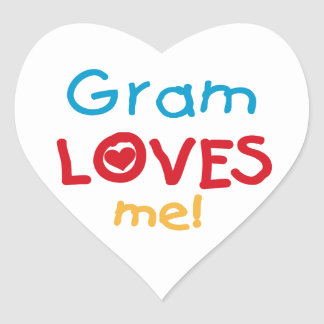 Gram Loves Me T-shirts and Gifts Heart Stickers