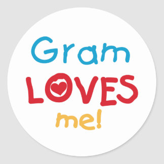 Gram Loves Me T-shirts and Gifts Round Stickers