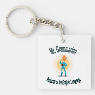 Grammar Fanatic Superhero Key Fob Single-Sided Square Acrylic Key Ring