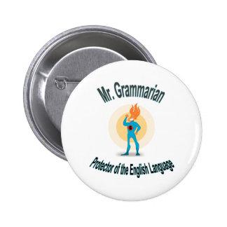 Grammar Fanatic Superhero Pin