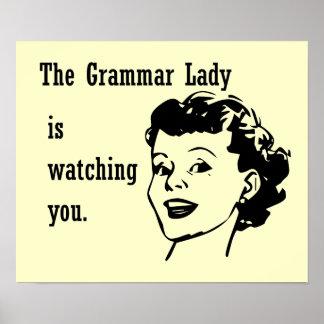 Grammar Lady Watching Postcards Print