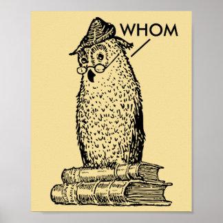 Grammar Owl Says Whom Design Poster