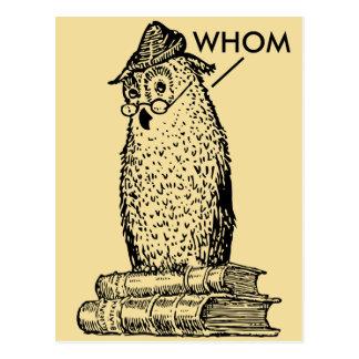 Grammar Owl Says Whom Postcard