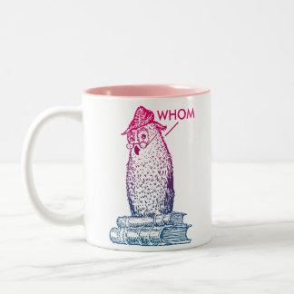 Grammar Owl Says Whom Two-Tone Coffee Mug