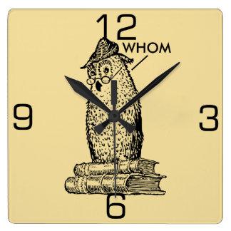 Grammar Owl Says Whom Wall Clock