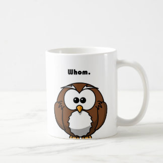 Grammar Owl Whom Cartoon Basic White Mug