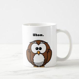 Grammar Owl Whom Cartoon Basic White Mug