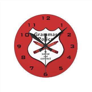 Grammar Police Badge Clock
