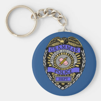 Grammar Police Dept Badge Pencil Eraser Key Ring