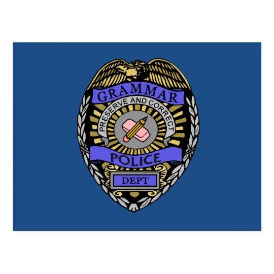 Grammar Police Dept Badge Pencil Eraser Postcard