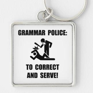 Grammar Police Silver-Colored Square Key Ring