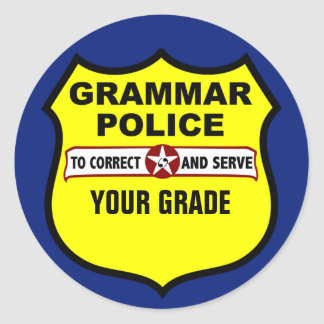 Grammar Police Teacher Grading Stickers