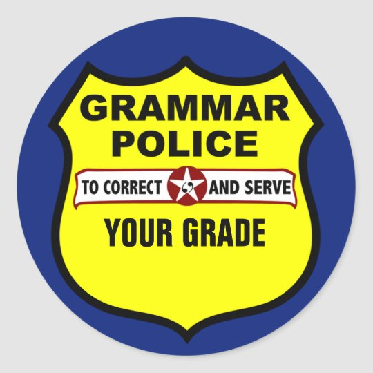 Grammar Police Teacher Grading Stickers