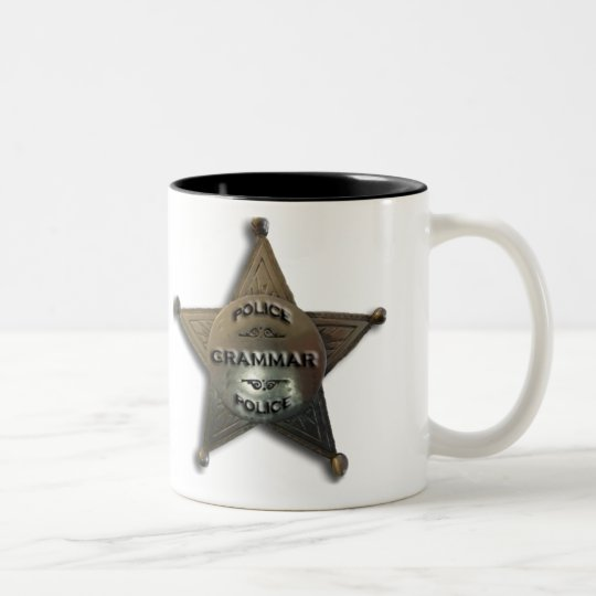 Grammar police vintage badge Two-Tone coffee mug
