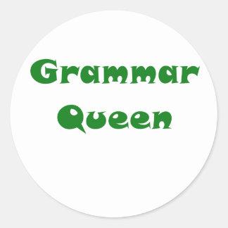 Grammar Queen Round Sticker
