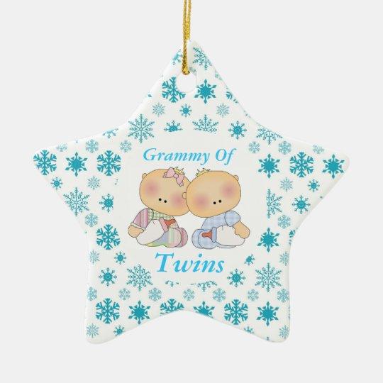 Grammy Grandma Of Twins Star Ornament Gift