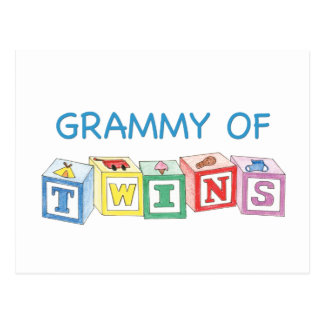 Grammy of Twins Blocks Postcard