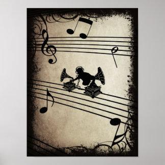 Gramophone Music - DJ & Retro Vinyl Headphones Poster