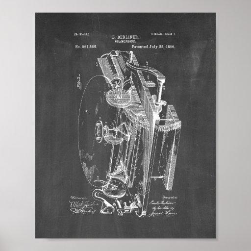Gramophone Patent - Chalkboard Poster