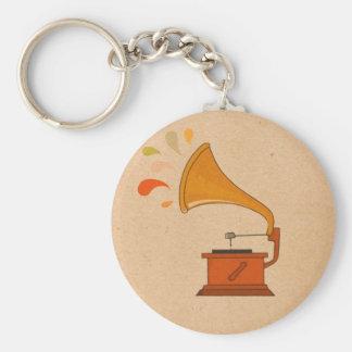 gramphone vintage colorful music splashes brown basic round button key ring