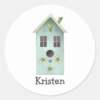 Gram's Garden · Blue Birdhouse Round Sticker