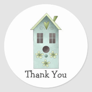 Gram's Garden · Blue Birdhouse Round Stickers