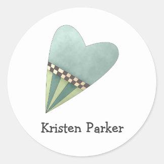 Gram's Garden · Blue Heart Round Sticker