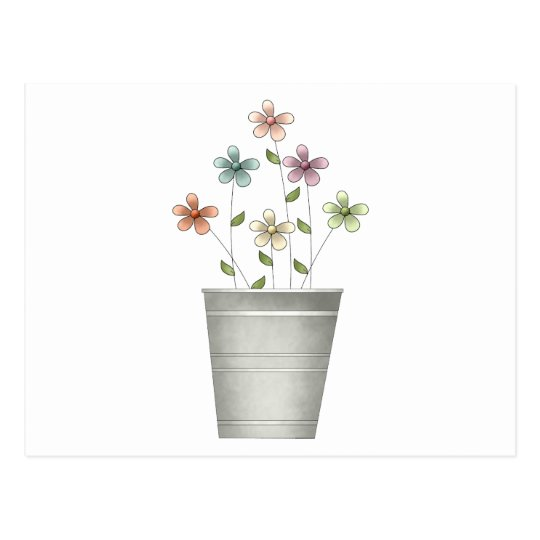 Gram's Garden · Flowers in Bucket Postcard