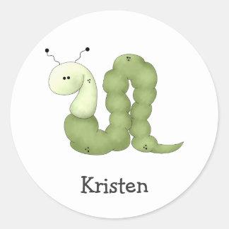 Gram's Garden · Green Worm Round Sticker