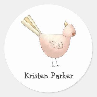 Gram's Garden · Pink Bird Round Stickers