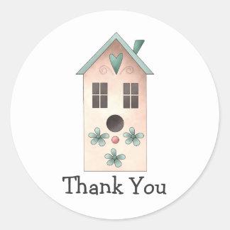 Gram's Garden · Pink Birdhouse Round Sticker