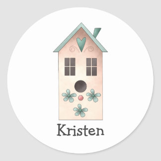 Gram's Garden · Pink Birdhouse Classic Round Sticker