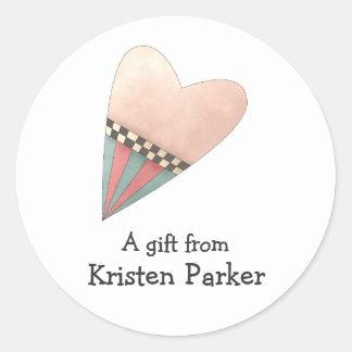 Gram's Garden · Pink Heart Round Stickers