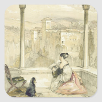 Granada (Alhambra), plate 9 from 'Sketches of Spai Square Sticker