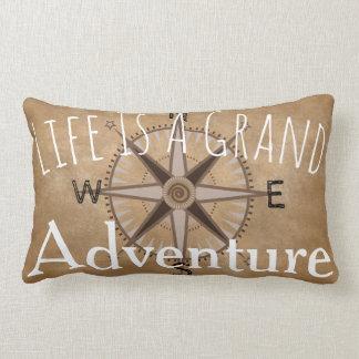 Grand Adventure Typography & Compass Lumbar Cushion