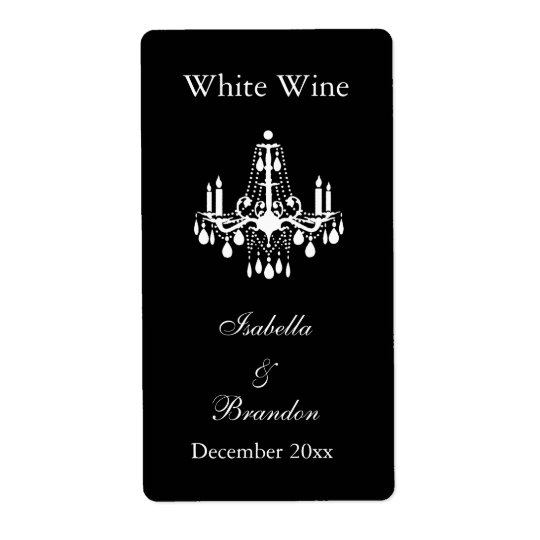 Grand Ballroom Wedding Wine Label (black) Shipping Label