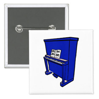 grand blue upright piano with music.png 15 cm square badge