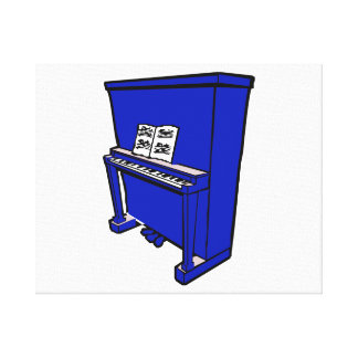 grand blue upright piano with music.png canvas prints