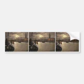 Grand Canal and Doges' Palace by moonlight, Venice Bumper Stickers