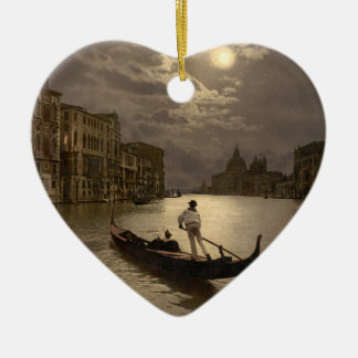 Grand Canal by Moonlight II, Venice, Italy Ceramic Heart Decoration