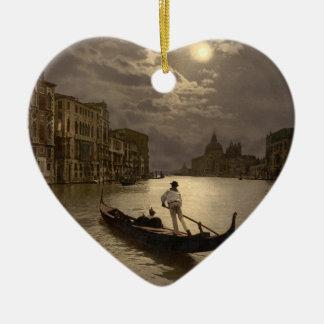 Grand Canal by Moonlight II, Venice, Italy Ceramic Heart Decoration
