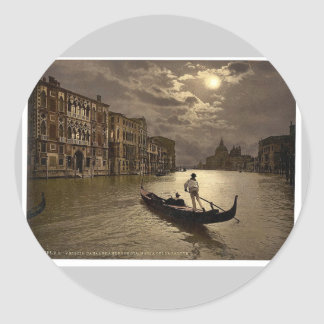 Grand Canal by moonlight Venice Italy vintage Ph Stickers