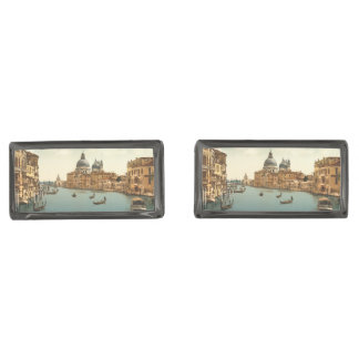 Grand Canal I, Venice, Italy Gunmetal Finish Cufflinks