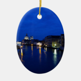 Grand canal of Venice by night Ceramic Oval Decoration