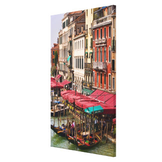 Grand Canal of Venice Italy with gondola boats Stretched Canvas Print