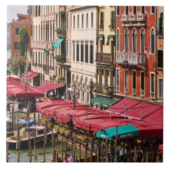 Grand Canal of Venice Italy with gondola boats Large Square Tile