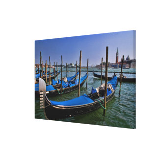 Grand Canal water with gondalo boats lined up Canvas Print