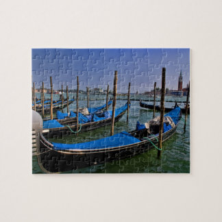 Grand Canal water with gondalo boats lined up Jigsaw Puzzle